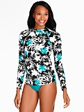 Rash Guard Swim Top - Tropical Block Floral