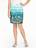 Cotton A-Line Skirt - Venice Scene