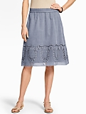 Lace-Trimmed Full Skirt - Chambray