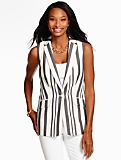 Caravan Stripe Sleeveless Blazer