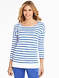 Coastal Stripe Mixed-Media Pullover