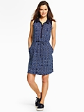 Dotted-Flower Polo Dress