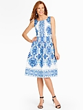 Grecian Tile Pleated Dress