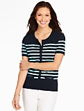 Short-Sleeve Charming Cardigan - Colorblocked Stripes
