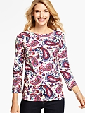 Three-Quarter-Sleeve Bateau Neck Tee-Paisley