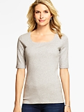 Pima Cotton Elbow-Sleeve Rounded Square-Neck Tee- Heathered