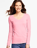 Pima Cotton Long-Sleeve V-Neck Tee-The Talbots Tee