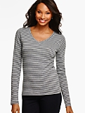 Long-Sleeve V-Neck Tee - Sparkle Stripes