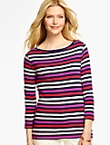 Three-Quarter-Sleeve Bateau Neck Tee- Sweetgale Stripes