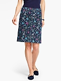 Cord Skirt-Floral-Print