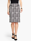 Geo-Plaid Knit Pencil Skirt
