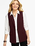 Notched-Collar Vest-Double Weave