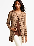 Double-Faced Zip-Front Topper - Houndstooth Plaid