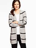 Stripes Elbow-Patch No-Close Cardigan