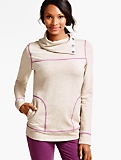 Snap-Cowlneck Top - Contrast Seaming