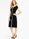 Ponte Tulip-Sleeve Sheath Dress-Contrast Trim