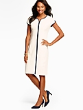 Ponte Tulip-Sleeve Sheath Dress-Contrast Trim/Ivory