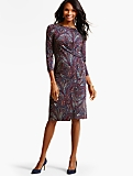 Bella Paisley Side-Drape Dress