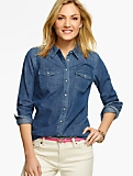 Everyday Denim Button-Front Blouse