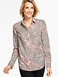 Long-Sleeve Paisley Collared Blouse