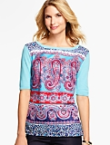 Woven-Front Paisley-Print Sweater