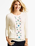 Cabled Flower-Embroidered Sweater