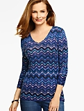 Merino Wool V-Neck Sweater - Zigzag Print