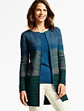 Double-Knit Ribbed Stripe Cardigan