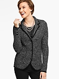 Merino Wool Basket-Weave Sweater Jacket - Marled Black/Ivory