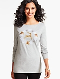 Long-Sleeve Holiday-Ready Tee-Snowflake Wreath & Reindeer