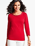 Three-Quarter-Sleeve Tee-Sequin & Bead