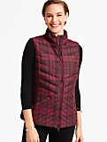 Plaid Chevron-Quilted Puffer Vest