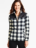 Quilted Mock-Neck Fleece Jacket-Buffalo Check