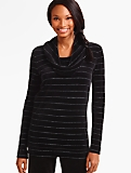 Luxe Velour Tinsel-Stripe Cowlneck Top