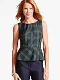 Buffalo-Plaid Taffeta Peplum Blouse
