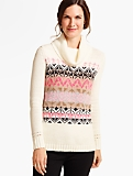 Arctic Fair Isle Side-Button Turtleneck