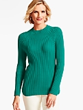 Ribbed Funnel-Neck Sweater
