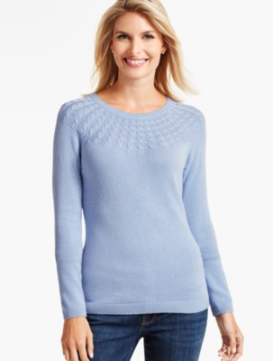 Vintage Sweaters – 1910s, 1920s, 1930s Pictures Talbots Womens Cable Yoke Sweater $69.99 AT vintagedancer.com
