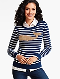 Whale & Nautical Stripe Tinsel-Decorated Sweater
