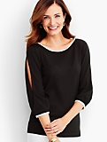 Merino Juliette Sleeve Sweater - Contrast Trim
