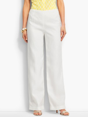 1940s Style Pants & Overalls- Wide Leg, High Waist Talbots Womens Side Button Linen Palazzo Pant White $89.99 AT vintagedancer.com