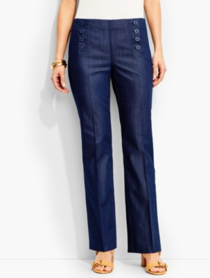 Retro Pants & Jeans Talbots Womens Sailor Pant Indigo Blue Wash $79.99 AT vintagedancer.com