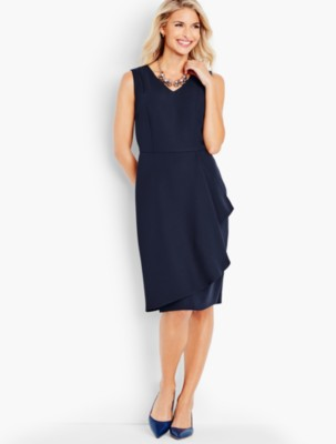 Retro Vintage Sweaters Talbots Womens Refined Crepe Side Drape Sheath Dress $129.99 AT vintagedancer.com