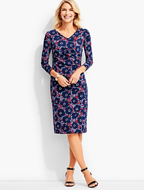 Bella Side-Drape Dress-Flower-Print