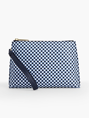 Gingham Pebbled Leather Wristlet