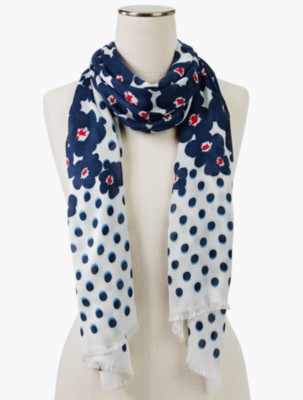Vintage Scarves- New in the 1920s to 1960s Styles Talbots Womens Dots Flowers Scarf $49.99 AT vintagedancer.com