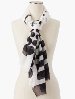Vintage Scarves- New in the 1920s to 1960s Styles Talbots Womens Fringed Dots Stripes Scarf $49.99 AT vintagedancer.com