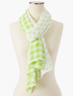 Vintage Scarves- New in the 1920s to 1960s Styles Talbots Womens Gingham Dots Scarf $34.99 AT vintagedancer.com