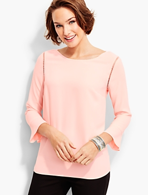 Crepe Flounce-Sleeve Popover