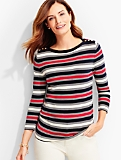 Button-Shoulder Sweater Topper-Renee Stripes